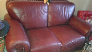 Leather love seat and chair for sale cheap!