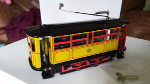Antique tramway metallic toy, mechanic wind up with key