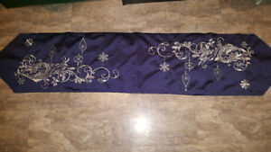 New navy blue and silver table runner