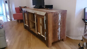 Multi-use cabinet console made of solid, reclaimed mango wood