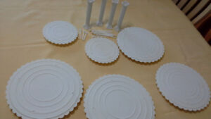 3 layer round wedding cake tiers by Wilton + columns + supports