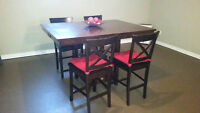 Bar Height Table with Four Chairs