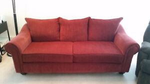 Reese Chenille Sofa/Couch - Red - Great Shape!