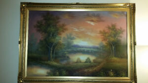 """41""""x29"""" Oil Painting Sunset"""