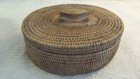 Antique Hand Weaved Basket With Lid !!!