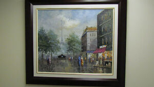 Collectible Oil Painting Art-French Impressionist Paris Scene