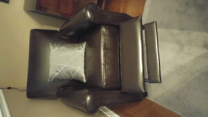 Brown Faux Leather Sofa Seat Recliner