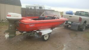 14' closed bow 50hp outboard - will trade for sled or tractor