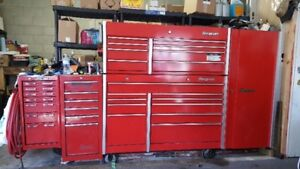 Snap on tool box upper, lower & side cabinets full of tools