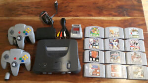 Nintendo 64 w/Expansion, Rumble Pak, 2 Controllers, 12 Games N64