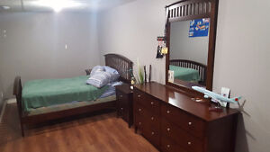 Bedroom set dresser, nightstand x2, bed, mirror