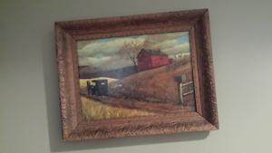 Vintage Wood Frame & Picture