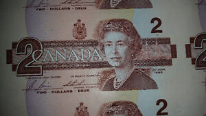 Sheet of 1986 $2 bills only $225 see my other awesome ads....... London Ontario image 2