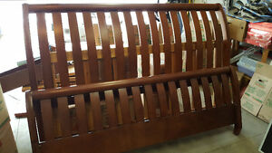 King size wood sleigh bed frame