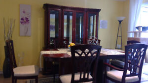 Dining Set - China Cabinet and Table with 6 Chairs - Solid wood