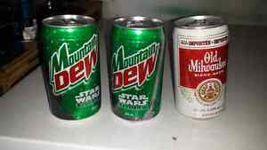 3 very old cans Full. OLD MILWAUKEE, STAR WARS MOUNTAIN DEW