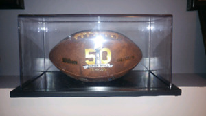 50th SUPERBOWL FOOTBALL IN THE GLASS CASE