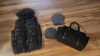 Lot of 4 NEW puffer vest, bag and hats,fit S-M bag 16/11/5""