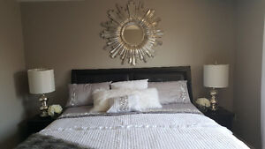 KING SIZE BLACK BEDROOM FURNITURE WITH MATTRESS INCLUDED