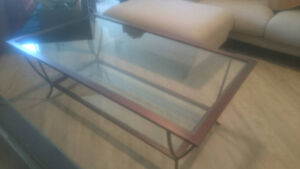 High-end iron and glass coffee table available - priced to move!