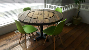 Beautiful reclaimed wood spool dining table