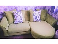 Gorgeous DFS Green 4 seater chaise sofa