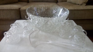 18 pc. ARLINGTON PUNCH BOWL, GLASSES, LADLE & HOOKS SET