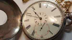 RARE COLLECTOR'S ANTIQUE VINTAGE SOLID SILVER POCKET WATCH , KEY