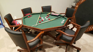 Octagon Poker Table bumper pool flat top and chairs