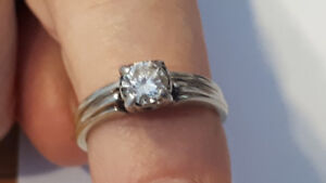 White Gold Diamond Engagement Ring & Wedding Band