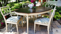Painted and Refinished Mid Century Table and Chairs
