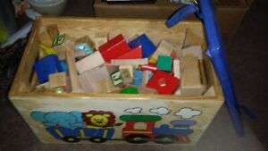 WOODEN  SHAPE  BLOCKS  IN TOY BOX  WITH PADDED  SEAT
