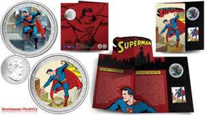 2013 SUPERMAN Lenticular Coin and Stamp Set Then and Now