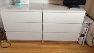 IKEA MALM 3 DRAWER CHEST IN WHITE x 2