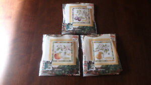 Cross stitch, three fruit kits, new, fabric,threads,diagrams