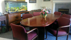 Boardroom Wooden Table & 6 Arm Chairs - Dinning Room