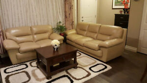 Beige real leather sofa set