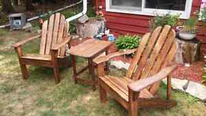 Set of 2 Adirondack chairs with attached or unattached table