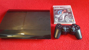 PS3 PlayStation 3 Super Slim Black Console 500GB controller GT5