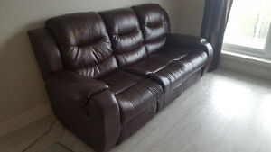 Recliner bonded leather sofa