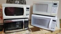 4 various size microwaves (0.8 - 1.2 cuft) - moving sale