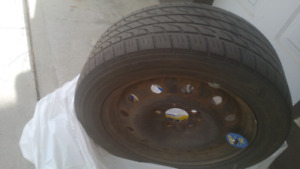 "4 steel rims with M+S tires 16"" rim 5 bolt tires are 205/55r16"