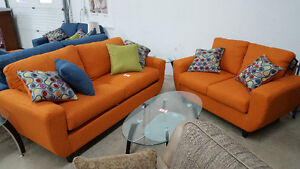 Orange Serta 2 Piece Couch and Love Seat - Delivery Available