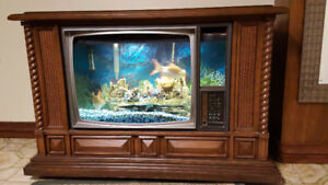 30 Gallon Fish Tank in Retro TV Console