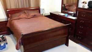 Big mahogany solid wood bedroom set with mattress ,base and othe