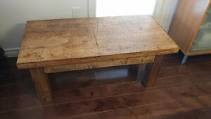 Unique reclaimed heavy solid wood butcher block top coffee table