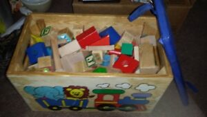 WOODEN SHAPES WITH TOY BOX WITH PADDED SEAT