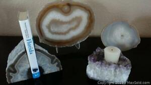 Geode Collection - Bookends, Amethyst Candleholder, Extra Large and Large Slices (A)
