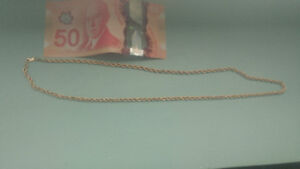 "26"" 10kt gold rope chain unisex man or woman"