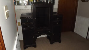 Pretty antique black china cabinet